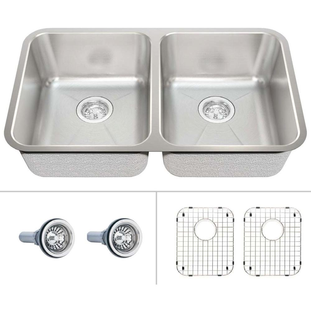 ECOSINKS Acero Select Combo Undermount Stainless Steel 30-7/8x17-3/4x9 0Hole Double Bowl Kitchen Sink Creased Bottom-DISCONTINUED