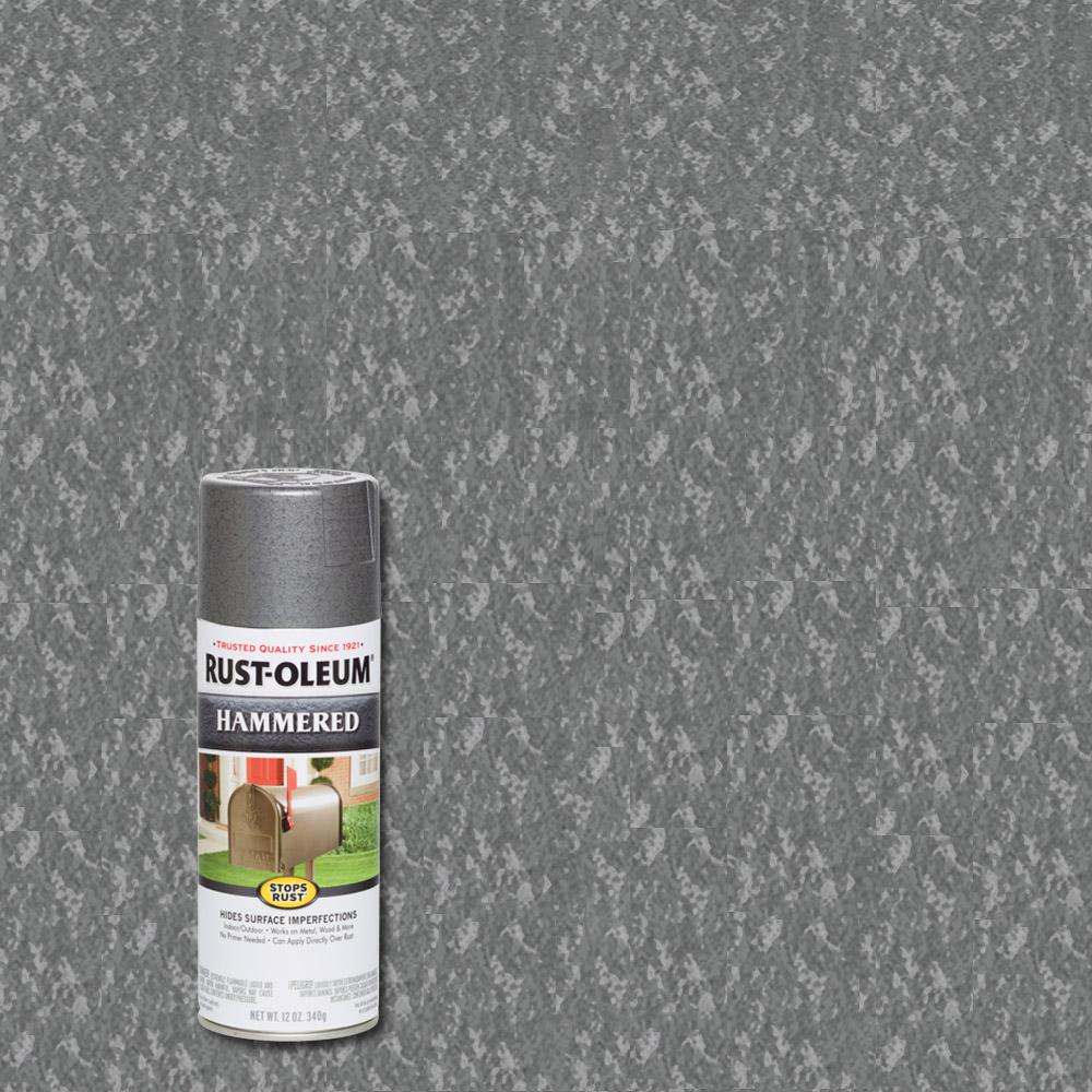 Rust Oleum Stops Rust 12 Oz Hammered Gray Protective Spray Paint