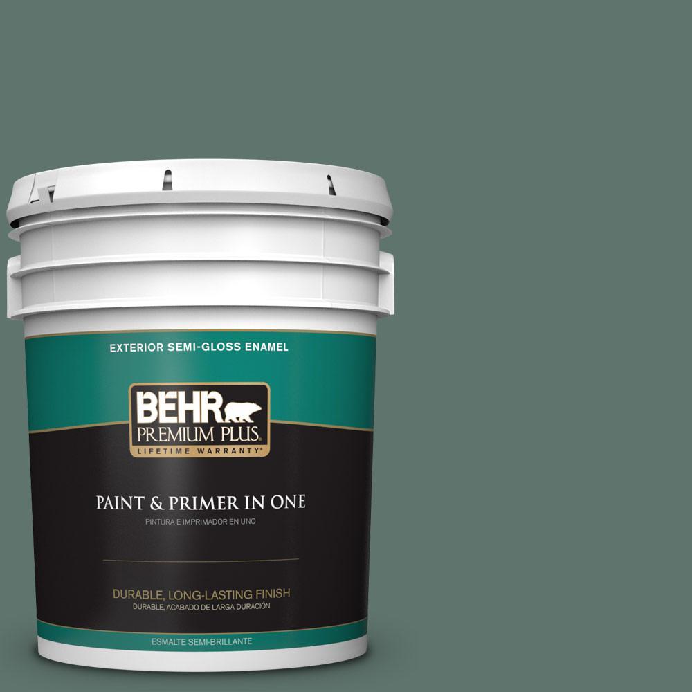 5 gal. #PPU12-17 Cameroon Green Semi-Gloss Enamel Exterior Paint