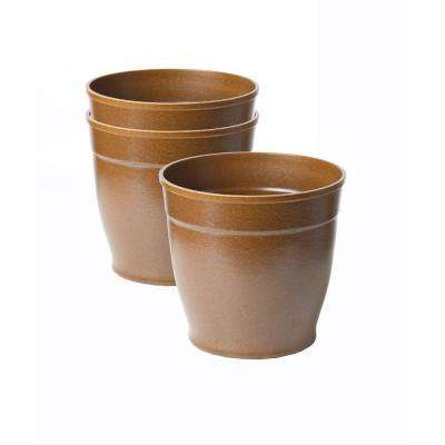 8 in. Brown Bio-Degradable Rice Hulls Patio Pot (Set of 3)