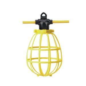 100 ft. 12/3 SJTW 10-Light Plastic Cage Light String - Yellow