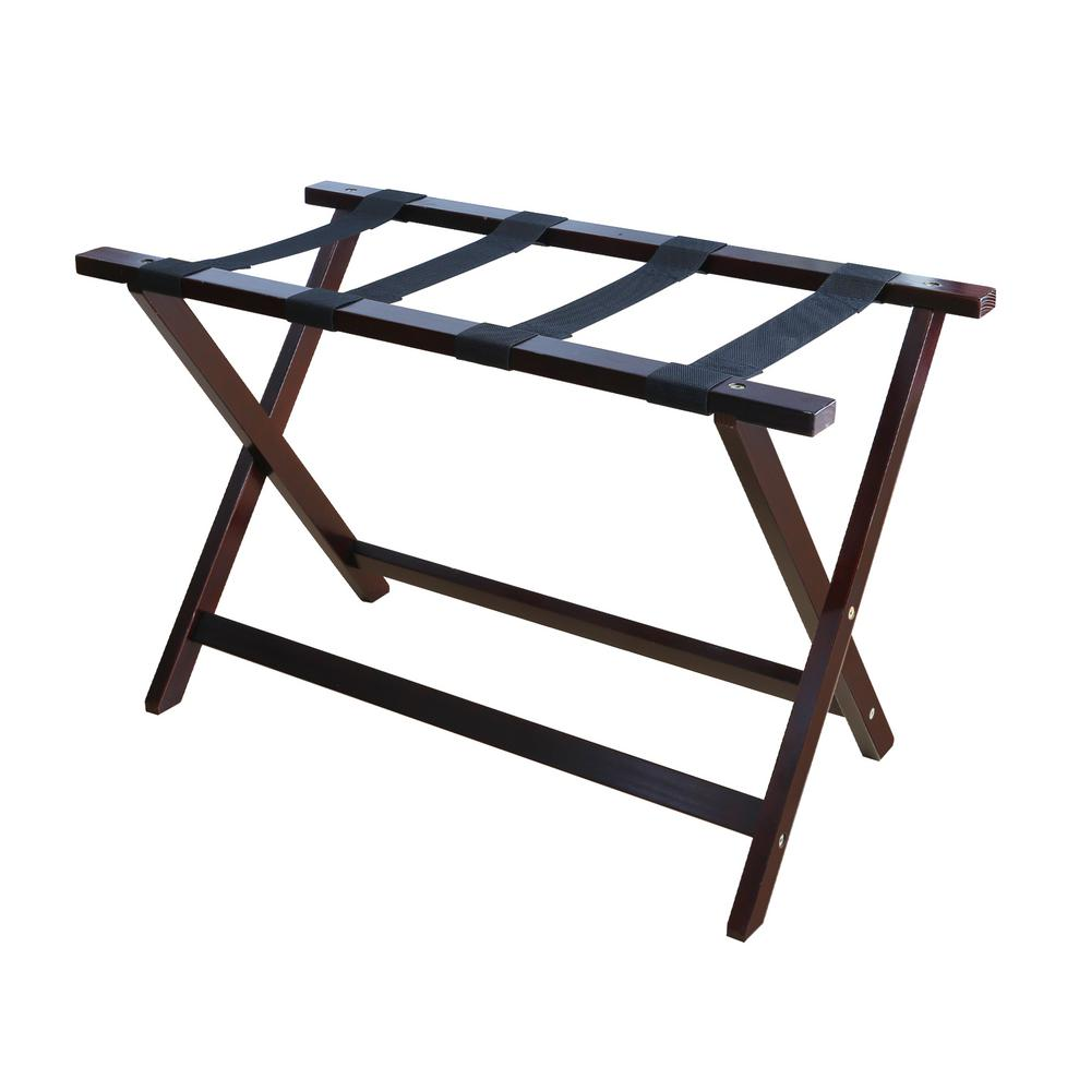Heavy Duty Solid Wood Luggage Rack in Espresso