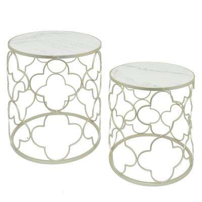 22.75 in. Silver Metal/Marble Top Table (Set of 2)