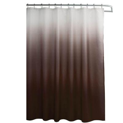 Ombre Waffle Weave 70 in. W x 72 in. L Shower Curtain with Metal Roller Rings in Chocolate