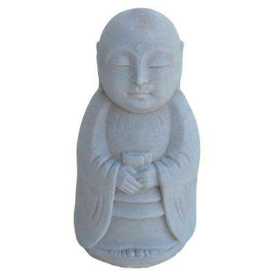 Cast Stone Standing Jizo Garden Statue - Antique Gray