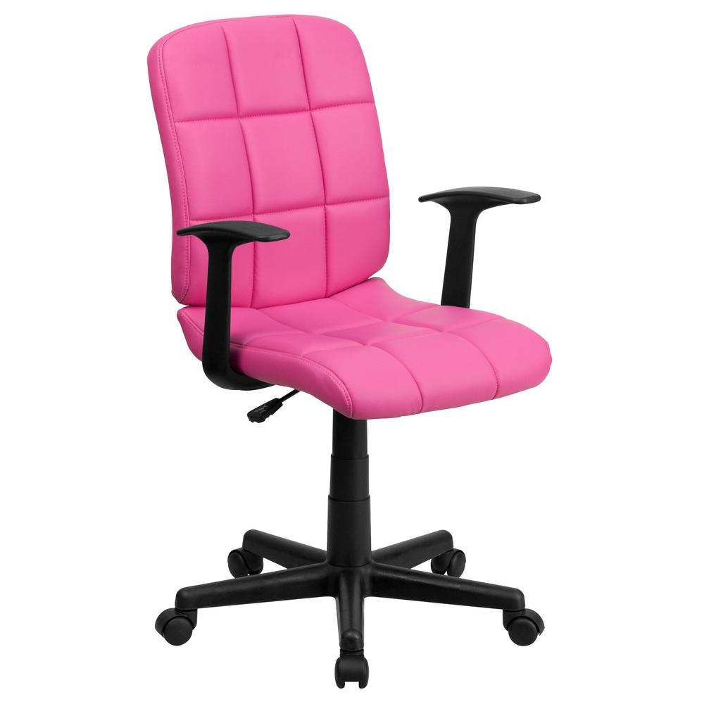 Flash Furniture Mid Back Pink Quilted Vinyl Swivel Task