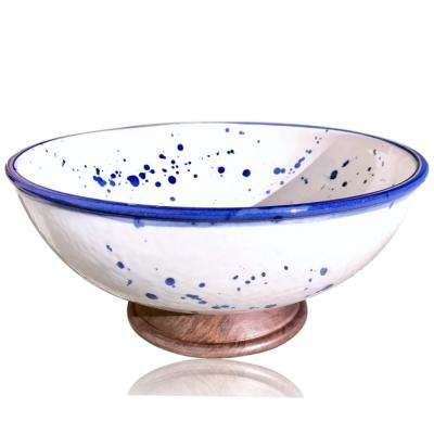 11 in. White Porcelain Bowl with Splatter Pottery and Wooden Finish