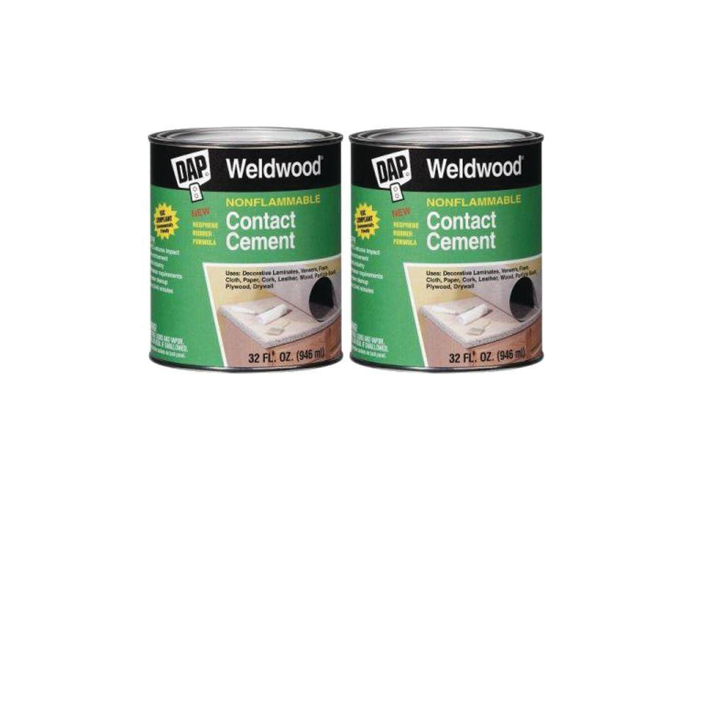 DAP Weldwood 1 qt. Non-Flamable Contact Cement (2-Pack) DAP weldwood 32 fl. oz. nonflammable contact cement forms a permanent, water- and heat-resistant bond on a variety of surfaces. This cement is perfect for indoor or outdoor projects.