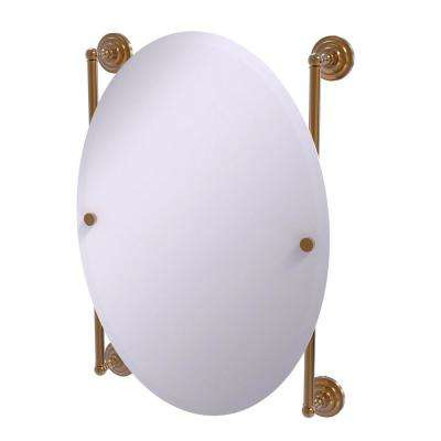 Que New Collection Oval Frameless Rail Mounted Mirror in Brushed Bronze