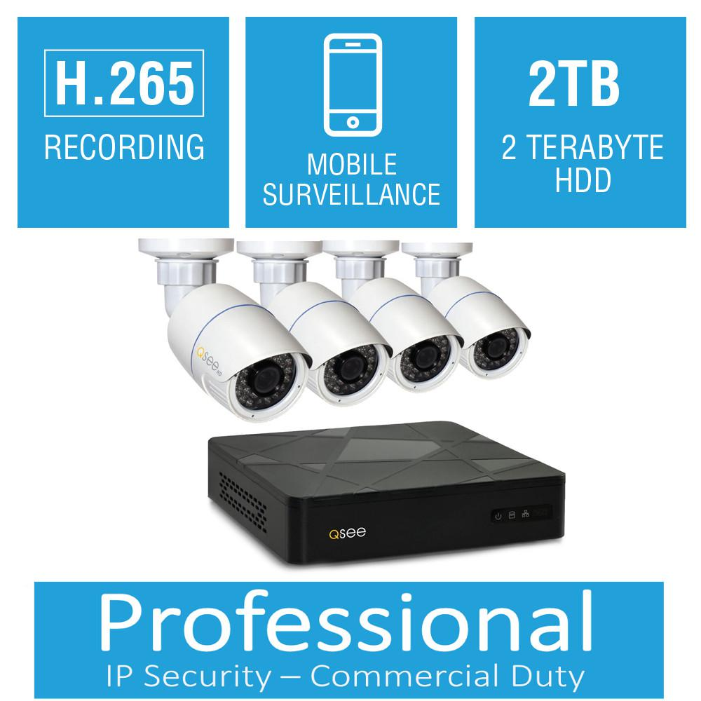 4-Channel 4MP 2TB Full HD IP Surveillance System with (4) 4MP