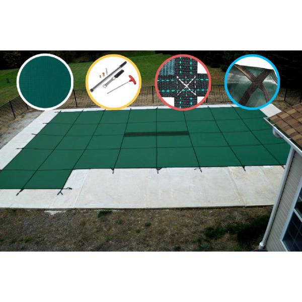 16 ft. x 32 ft. Rectangle Green Solid In-Ground Safety Pool Cover Left Side Step