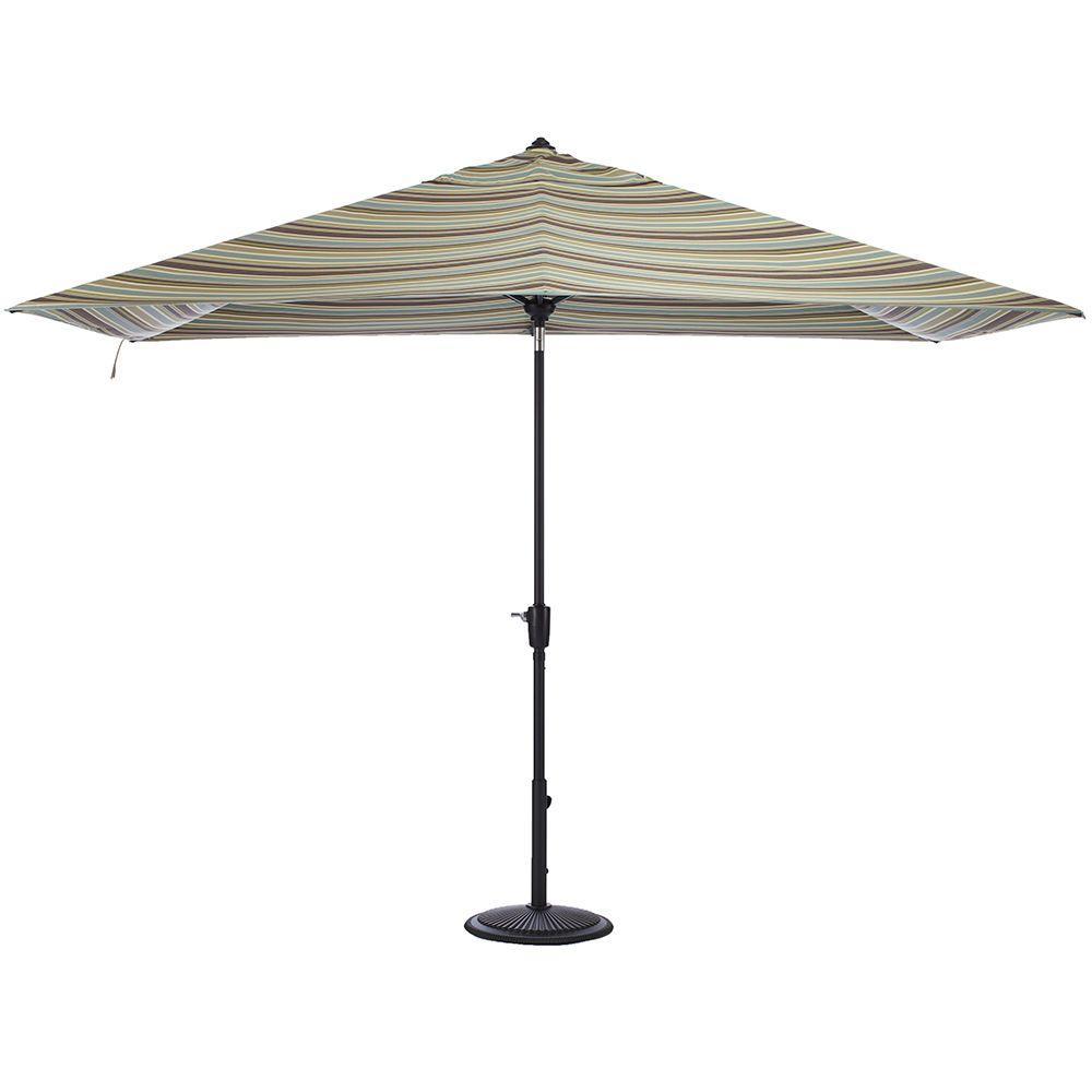 Home Decorators Collection 10 ft. Auto-Tilt Patio Umbrella in Brannon Whisper Sunbrella with Black Frame