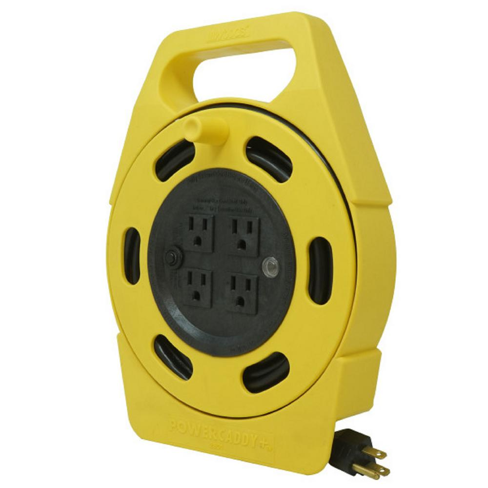 Woods Woods 25 ft. 16/3 Outdoor Multi-Outlet (4) Portable Extension Cord Reel Power Station, Black/Yellow