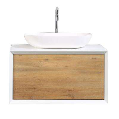 Santa Monica 29.50 in. W x 21.70 in. D x 15.70 in. H Vanity in White with Glassos Vanity Top in White with White Basin