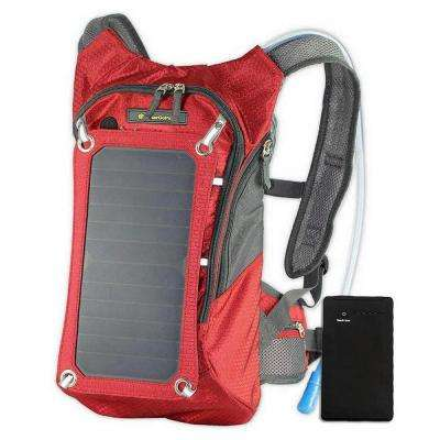 Solar Hydration Backpack, 10k mAh battery, 7-Watt Solar Panel in Red