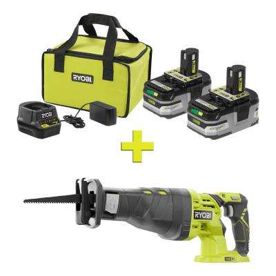 18-Volt ONE+ LITHIUM+ HP 3.0 Ah Battery (2-Pack) Starter Kit with Charger and Bag with ONE+ Reciprocating Saw