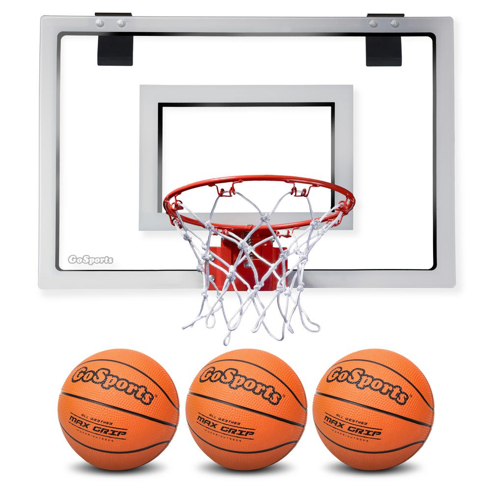 GOSPORTS Over the Door Basketball Hoop with 3 Premium Basketballs ...