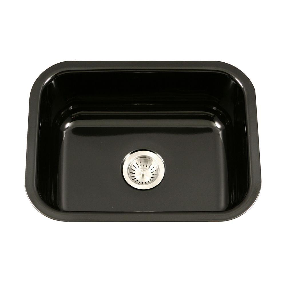Houzer Porcela Series Undermount Porcelain Enamel Steel 23 In Single Bowl Kitchen Sink Black