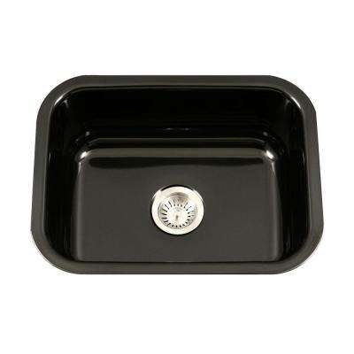 Porcela Series Undermount Porcelain Enamel Steel 23 in. Single Bowl Kitchen Sink in Black