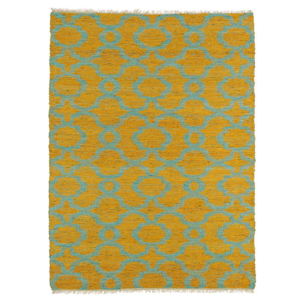 Kaleen Kenwood Turquoise 5 ft. x 7 ft. 9 in. Double Sided Area Rug