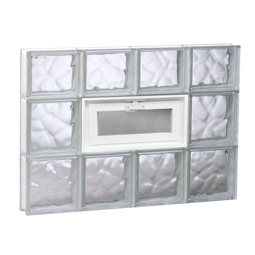 31 in. x 21.25 in. x 3.125 in. Frameless Wave Pattern Vented Glass Block Window