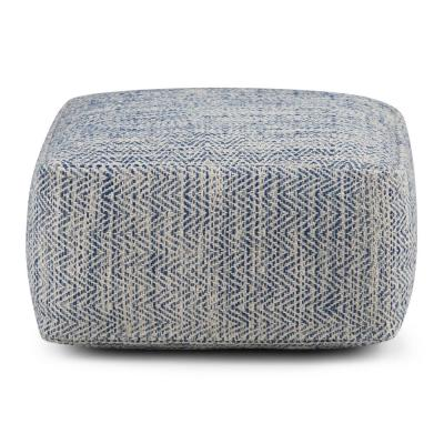 Nate Transitional Square Pouf in Patterned Denim Melange Cotton