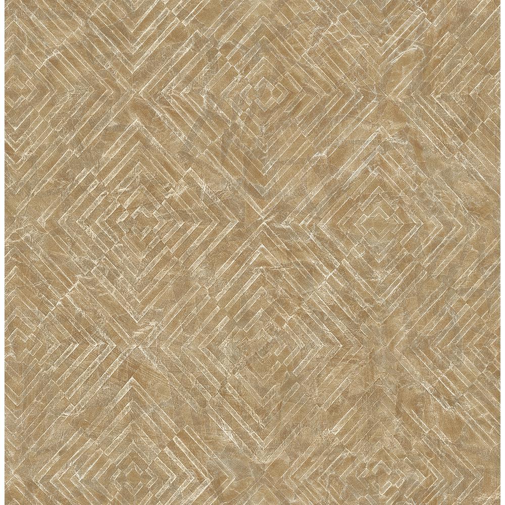 A-Street Labyrinth Gold Geometric Wallpaper Sample