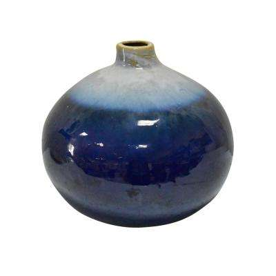 10 in. Blue Ceramic Decorative Vase
