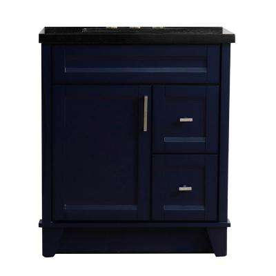 31 in. W x 22 in. D Single Bath Vanity in Blue with Granite Vanity Top in Black Galaxy with White Rectangle Basin