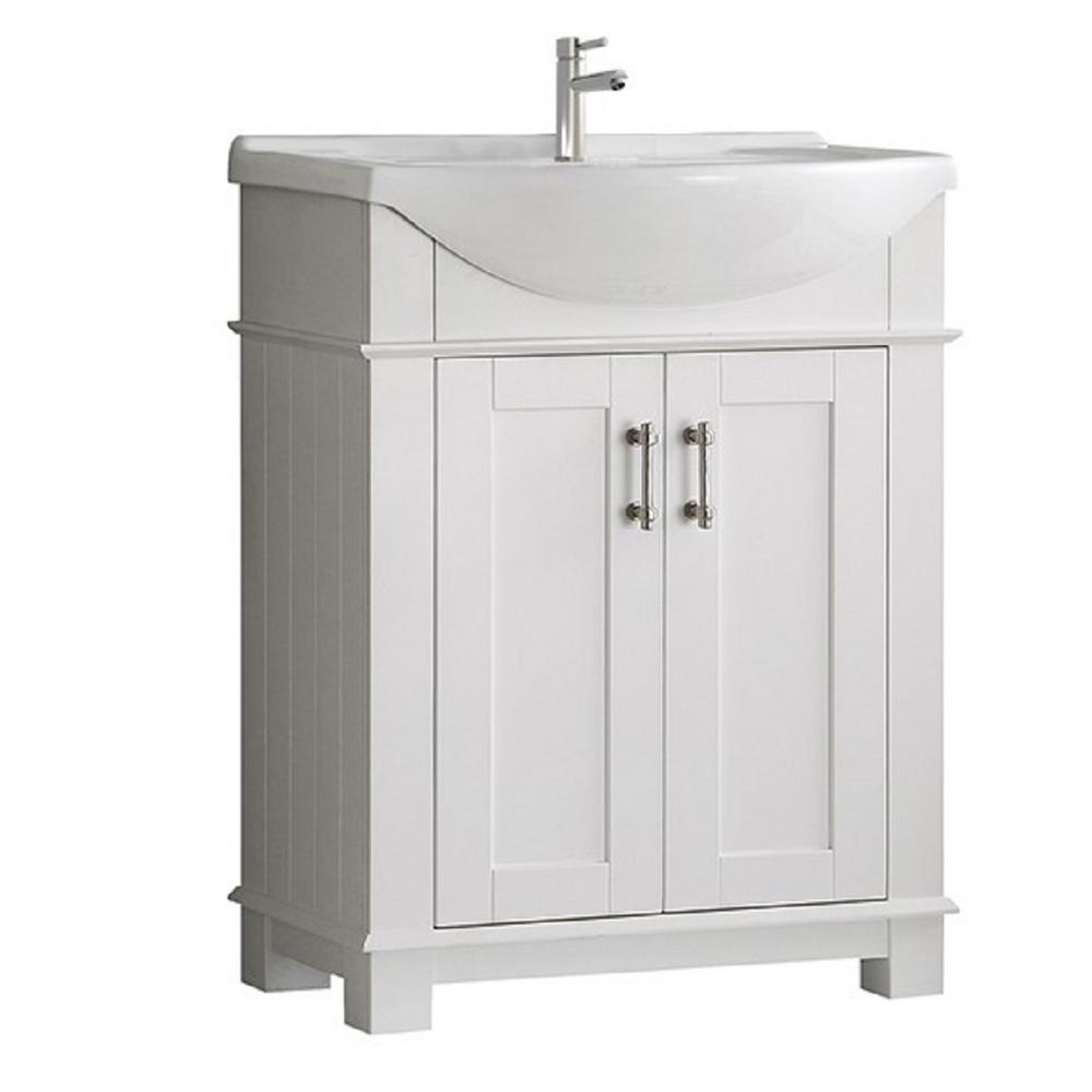 Hudson 30 in. W Traditional Bathroom Vanity in White with Ceramic