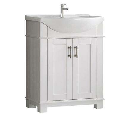 Hudson 30 in. W Traditional Bathroom Vanity in White with Ceramic Vanity Top in White with White Basin