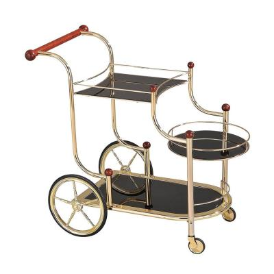 Amelia Golden Plated and Black Glass Serving Cart With Wheels