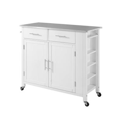Savannah White Full-Size Kitchen Island with Stainless Steel Top