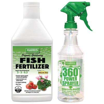 32 oz. Organic Gardening Liquid Fish Fertilizer and 360-Degree All Angle Professional Spray Bottle Value Pack