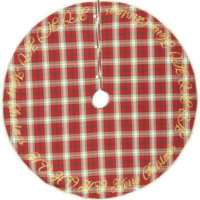 60 in. Holiday Cherry Red Farmhouse Christmas Decor Tree Skirt