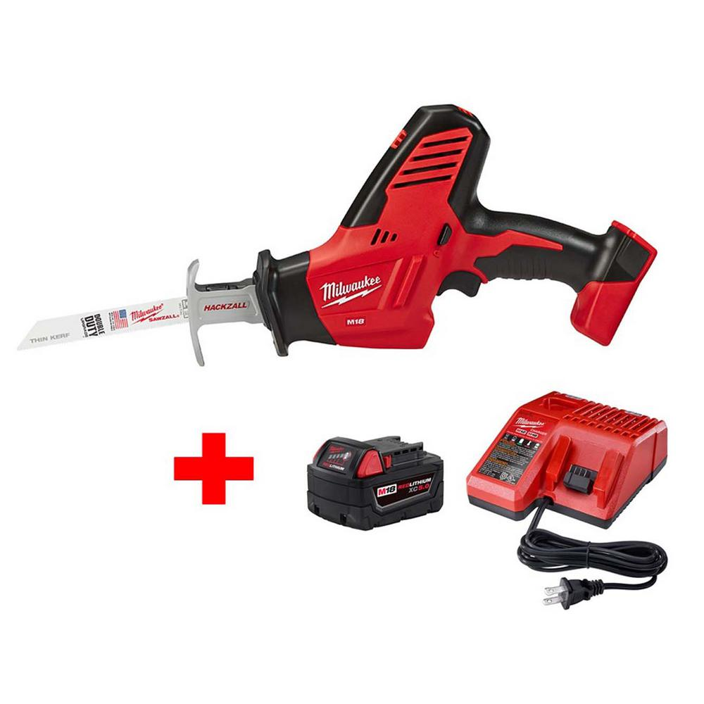 Milwaukee M18 18-Volt Lithium-Ion Cordless Hackzall Reciprocating Saw W/ M18 Starter Kit W/ (1) 5.0Ah Battery and Charger