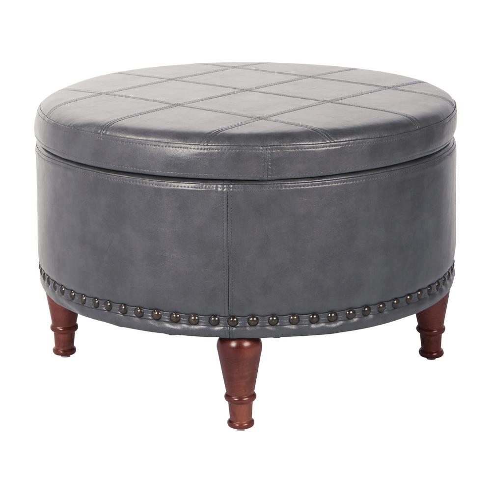 Alloway Pewter Faux Leather with Antique Bronze Nail-Heads Storage Ottoman