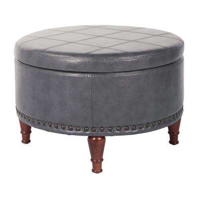 Alloway Pewter Faux Leather With Antique Bronze Nail Heads Storage Ottoman
