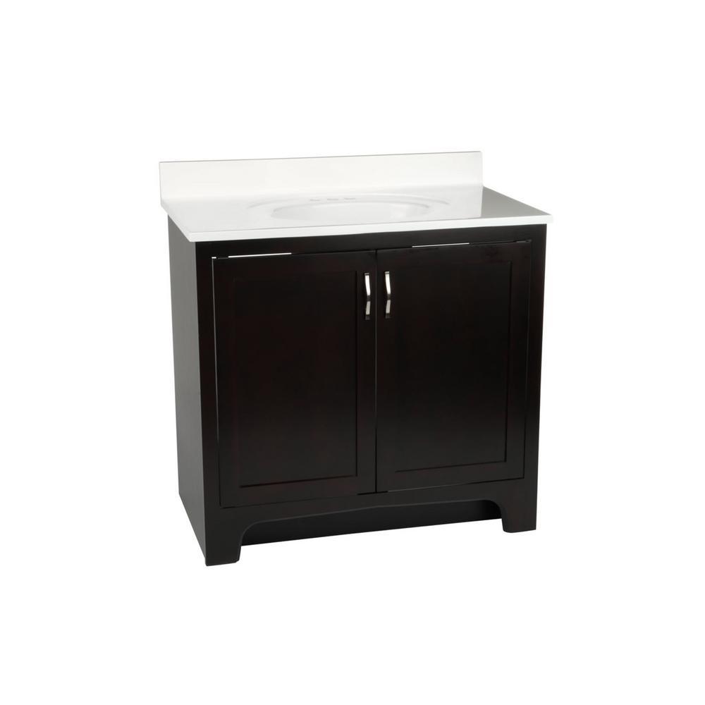 36 in. x 21 in. x 33-1/2 in. Ventura 2-Door Vanity Cabinet with White Cultured Marble Vanity Top with White Basin