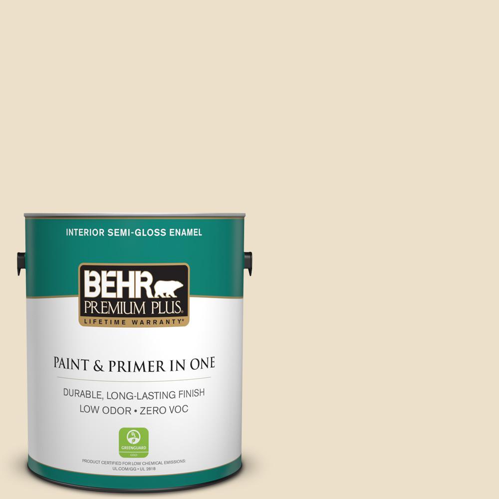 BEHR Premium Plus 1-gal. #740C-2 Cozy Cottage Zero VOC Semi-Gloss Enamel Interior Paint, Beige/Ivory