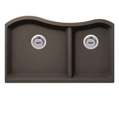 Undermount Quartz 33 in. 0-Hole 40/60 Double Bowl Kitchen Sink in Mocha Brown