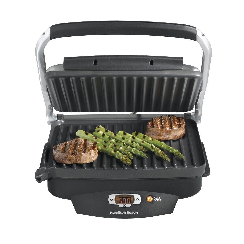 Hamilton Beach Steak Lover's 100 sq. in. Black Indoor Grill with Lid