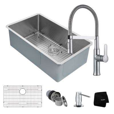Handmade All-in-One Undermount Stainless Steel 32 in. Single Bowl Kitchen Sink with Faucet in Chrome