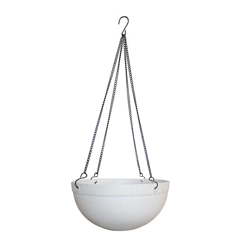 Monroe 12 in. Dia Resin White Hanging Basket