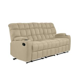 Miraculous Prolounger 3 Seat Khaki Microfiber Wall Hugger Storage Machost Co Dining Chair Design Ideas Machostcouk