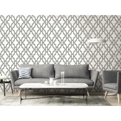 Black and White Tile Trellis Peel and Stick Wallpaper
