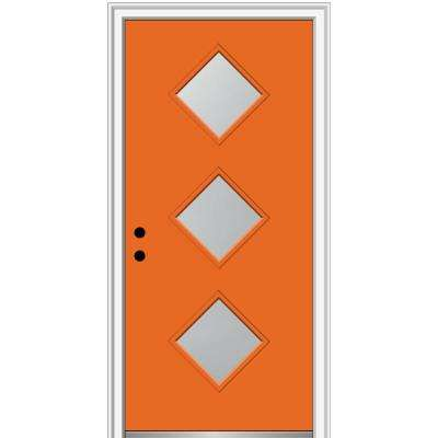 36 in. x 80 in. Aveline Right-Hand Inswing 3-Lite Frosted Painted Fiberglass Smooth Prehung Front Door 4-9/16 in. Frame