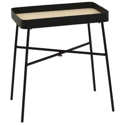 20 in. Black Metal Tray Table