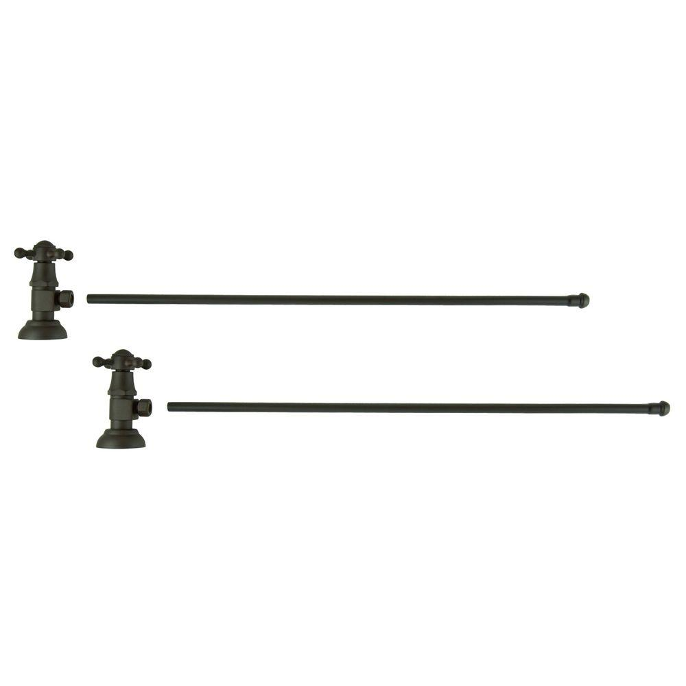 3/8 in. O.D x 20 in. Brass Rigid Lavatory Supply Lines with Cross Handle Shutoff Valves in Oil Rubbed Bronze Barclay provides all your essential bathroom needs. Enjoy the convenience of accessible water shut-off with these decorative lavatory supplies. Choose from 5 designer finishes. Color: Oil Rubbed Bronze.