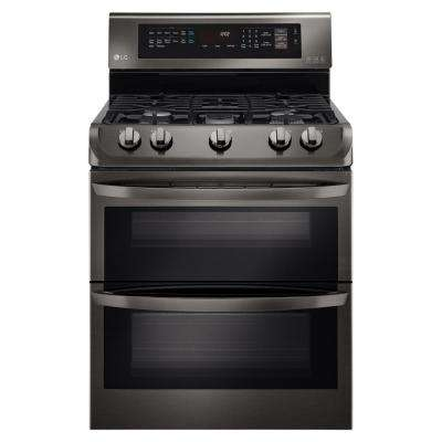 6.9 cu. ft. Double Oven Gas Range with ProBake Convection Oven in Black Stainless Steel